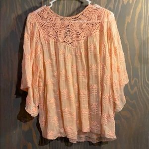 Johnny Was 4love and liberty 100% silk sheer top